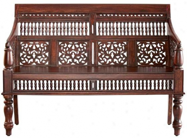 """maharaja Settee - 35""""hx47""""wx25""""d, Brown Wood"""