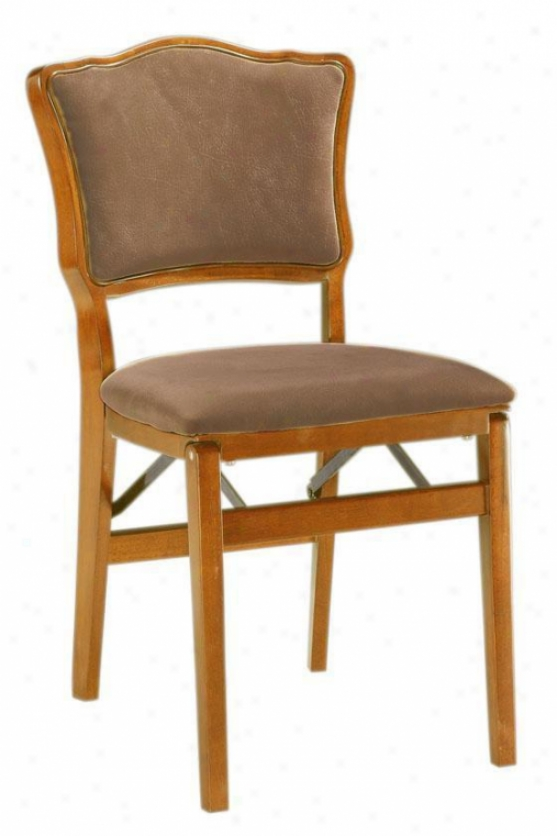 Medium Oak Chadwick Upholsered-back Foldong Chair - Set Of Two - Medium Oak, Ivory