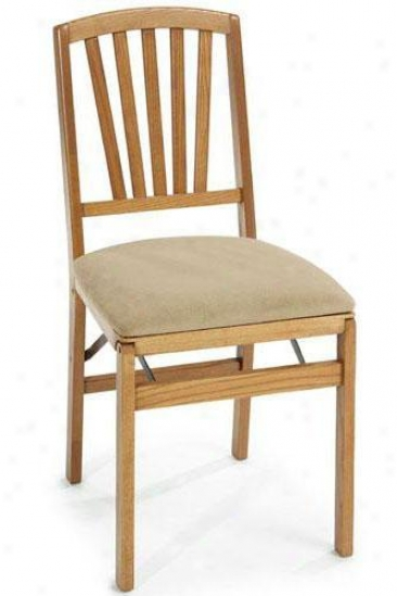 Medium Oak Contemporary Folding Chair - Set Of Twi - Medium Oak, Ivory