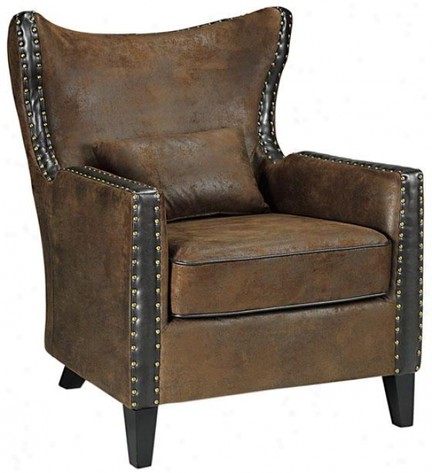 """eloni Arm Chair - 36.5""""hx34""""w, Faux Suede Brwn"""