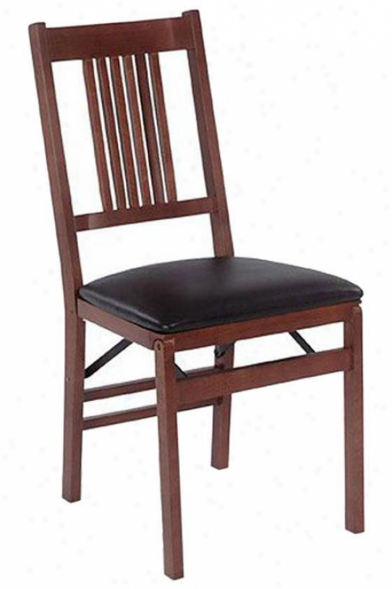 Mission Folding Chairs - Set Of 2 - Black Vinyl, Brown