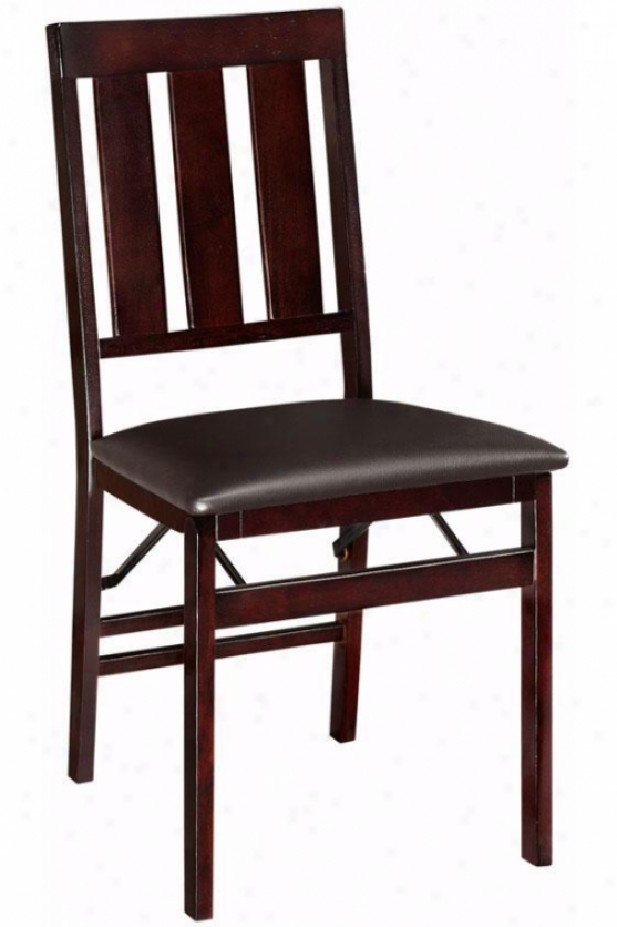 Mission-style Foldable Chair - Chair Elevation, Brown