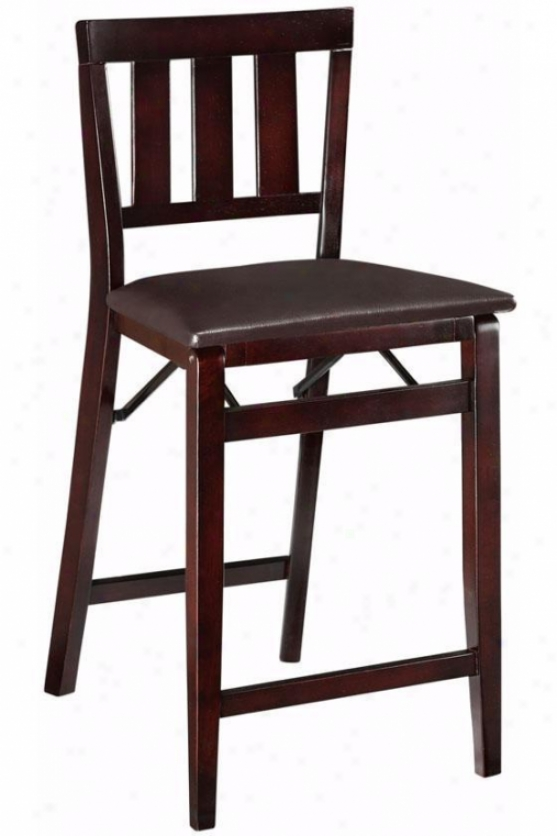 Mission-style Foldable Counter Stool - Counter Height, Brown