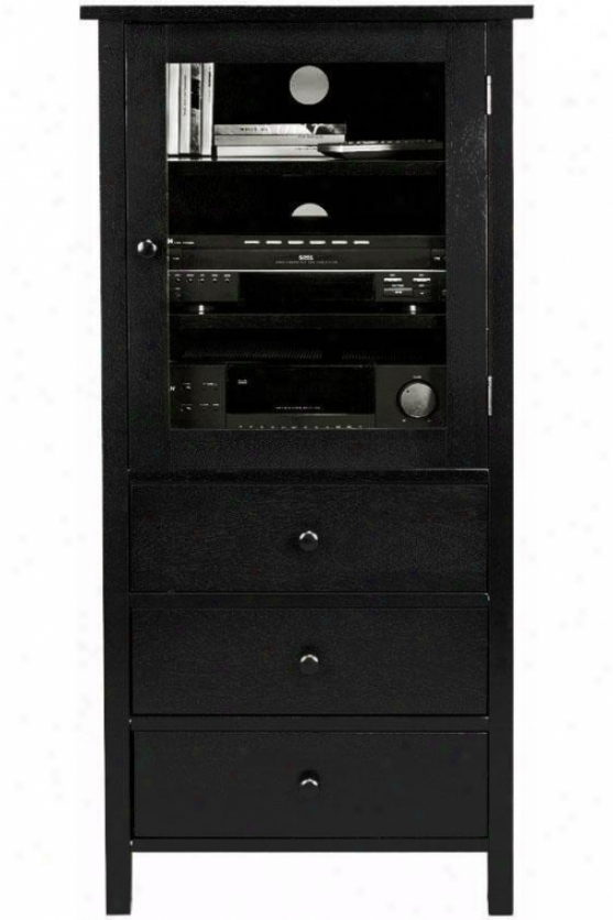 Mission-style Media Csbinet - 3-drawers, Black