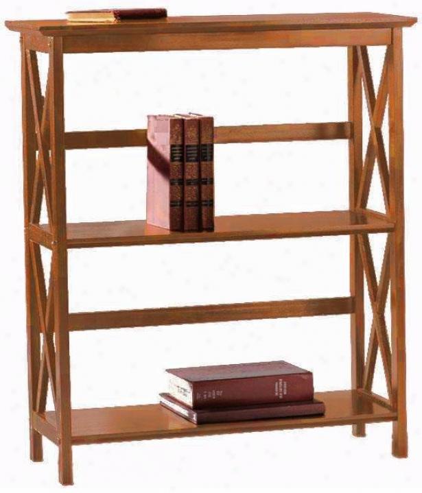 Monteg0 2-shelf Bookcase - Low, Brown Wood