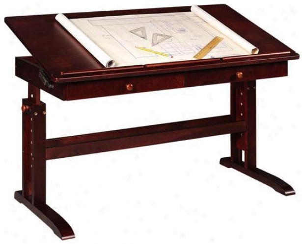 Multi-use Writing Table W/ 2 Drawers - Two-drawer, Crkmson Red