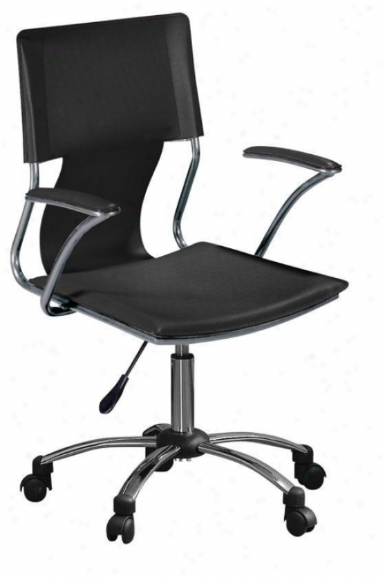 Nova Adjsutable Swivel Desk Chair - Black, Silver Chrome