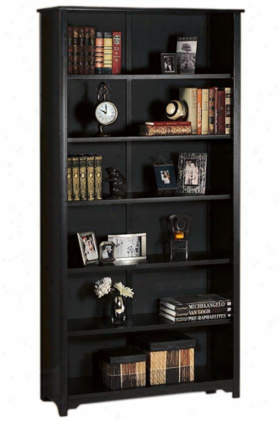 Oxford 36 Inch Black Six-shelf Open Bookcase