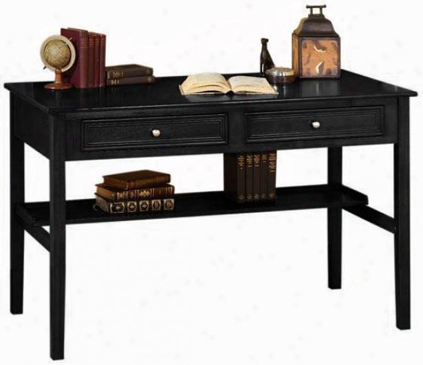 Oxford 48 Inch Black Two Storage Drawer Writing Desk