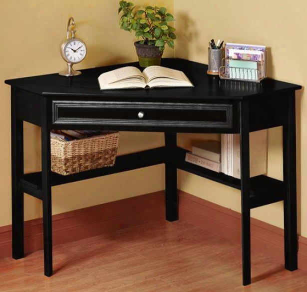 Oxford 50 Inch Black One-drawer Corner Writing Desk