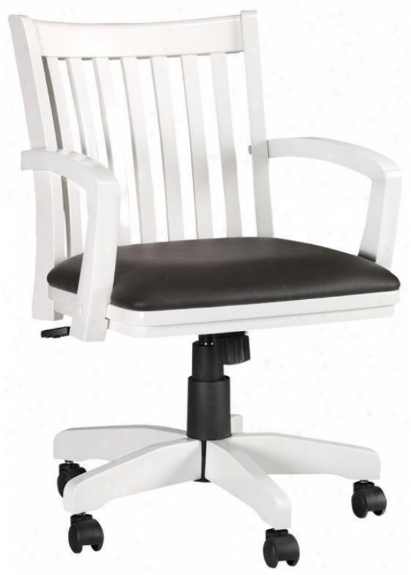 Oxford Adjustable-heighht Desk Chair - W/arms, White