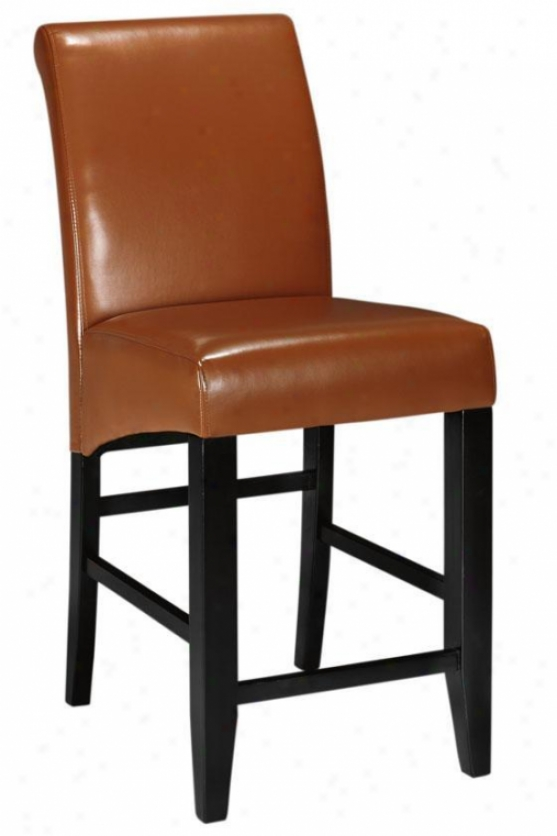 """parsons Rolled-back Leather Counter Stool - 41""""h, Coffee Brown"""