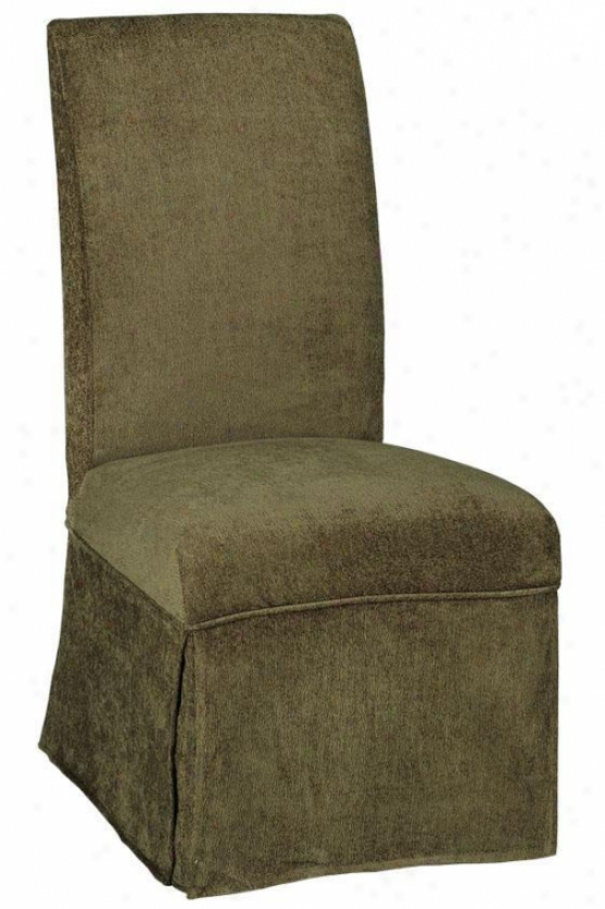"""parsons Side Chairman Skirted Slipcover - 40.5""""hx20.5""""w, Olive Chenille"""