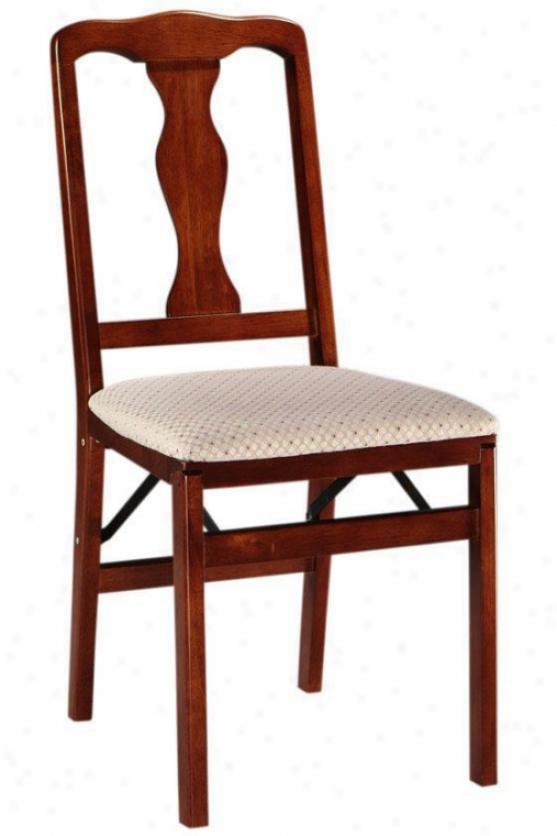 Queen Anne Wood Folding Chair Set