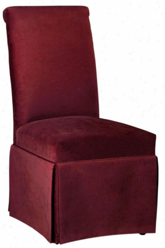 Rolled-back Parsons Chair With Skirt - Rlld Bck W/skrt, Bella Berry