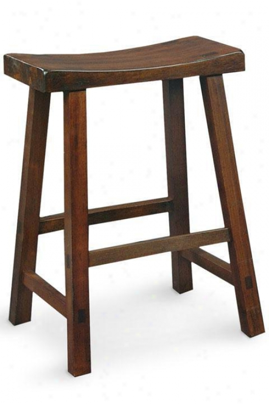 """saddle Seat Counter Stool - 24.25""""hx17.75""""w, Brown Wood"""