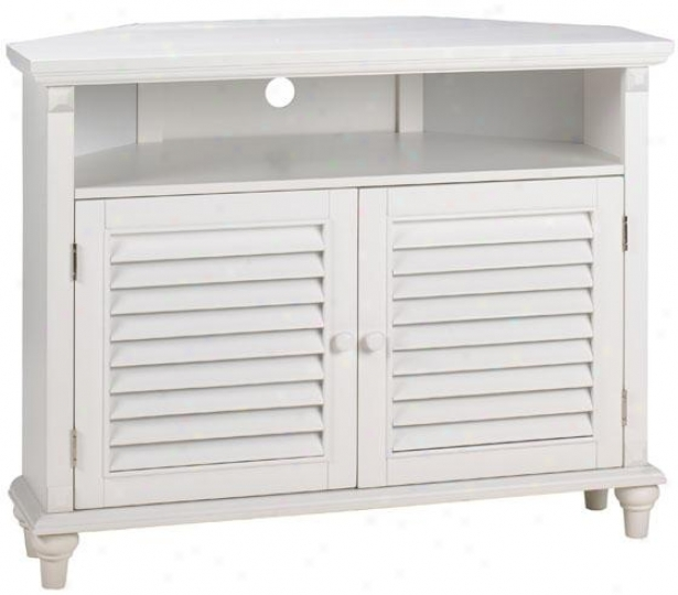 Savannah Louvered-door Corner Tv/dvd Cabinet - Corner, White