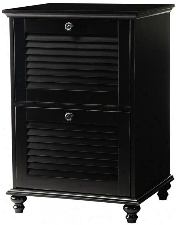 Shutter Two-drawer File Closet - 2 Drawer, Worn Black