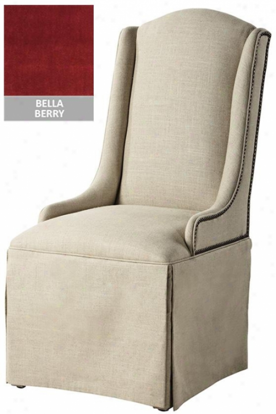 Skirted Dining Chair - Shy Chr Nlhead, Berry Bella