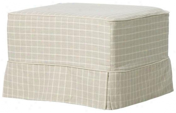 """sophia Slipcovered Ottoman - 17""""hx24""""wx24""""d, Natural Grid"""