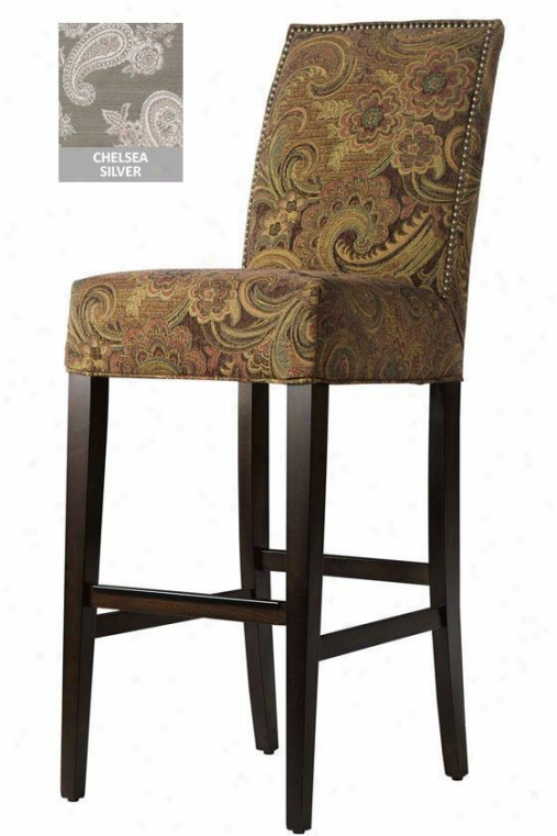 Straight-back Bar Stool - Antq Brs Nlhead, Chelsea Silver