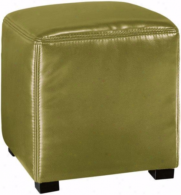 """tracie Basic Leather Ottoman - 18""""h, Green"""