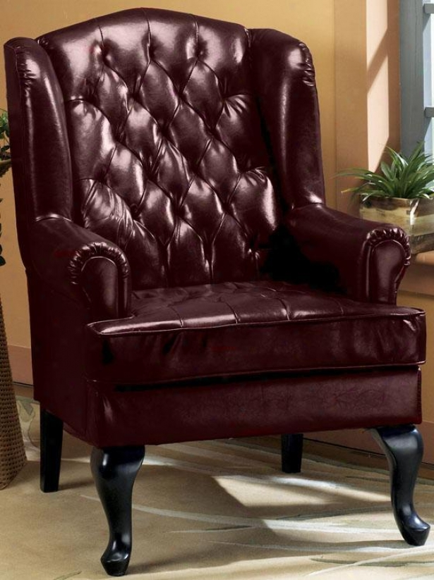 """tufted Wing Chair - 45""""h, Burgundy"""