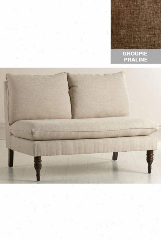 """upholstered Armless Settee - 33.5""""h, Grp Prln-b"""