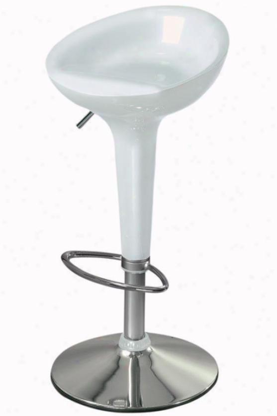 Ventura Adjustable-height Stool - White Metallic, Silver