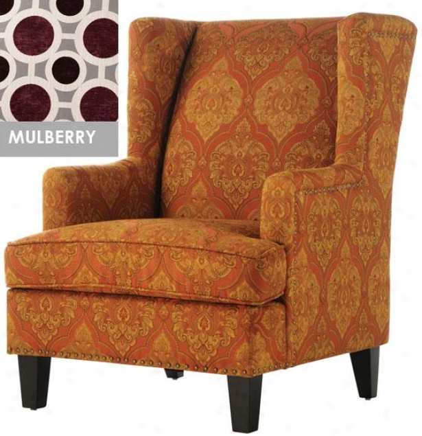 """vincent Wing Back Chair - 40x29x35"""", Mulberry"""
