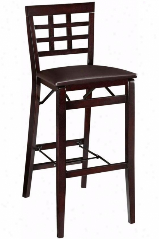 Window Pane Foldable Bar Stool - Bar Height, Brown